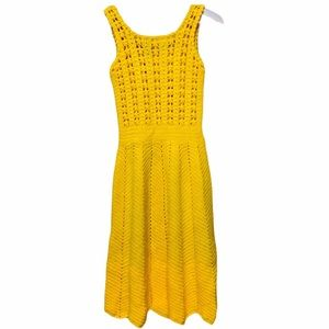 Gold Bright Cottage Core Yellow Hand Knitted Dress
